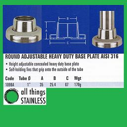 1 Inch Round Adjustable Heavy Duty Base Plate
