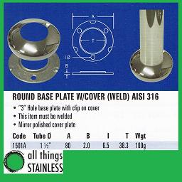 1.5 Inch Base Plate with Cover for stainless steel post