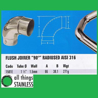 316: 1.5 Inch Flush Joiner 90 Deg Radiused