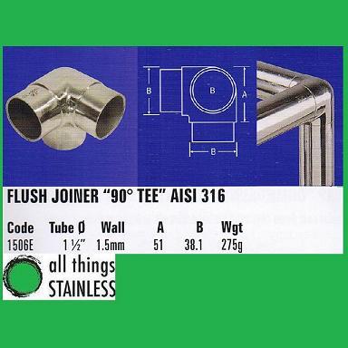 316: 1.5 Inch Flush Joiner 90 Deg Tee