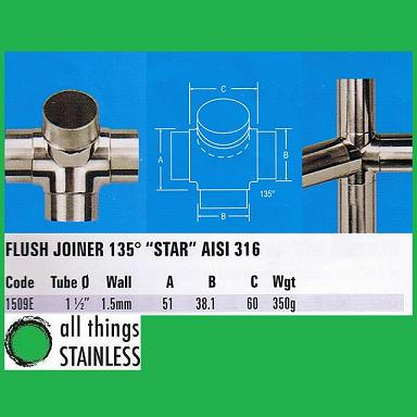 316: 1.5 Inch Flush Joiner 135 Degree Star