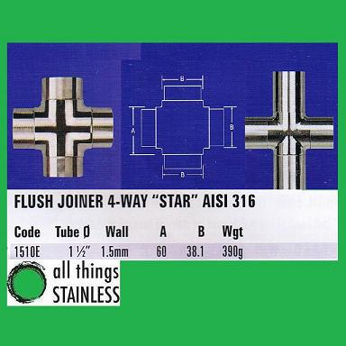 316: 1.5 Inch Flush Joiner 4-Way Star