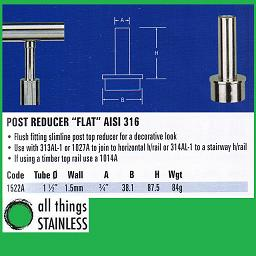 316: 1.5 Inch Post Reducer for stainless handrail