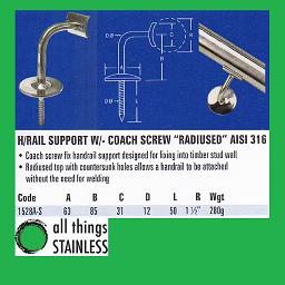 316: Handrail Support Radius with Coach Screw - 1528A-S