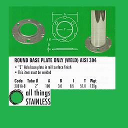 2 Inch Base Plate for stainless steel post