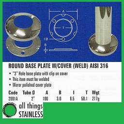 2 Inch Base Plate with Cover for stainless steel post