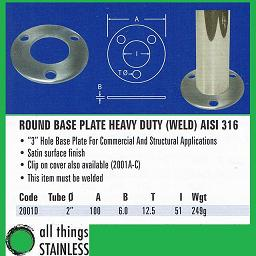 2 Inch Heavy Duty Base Plate for stainless steel post
