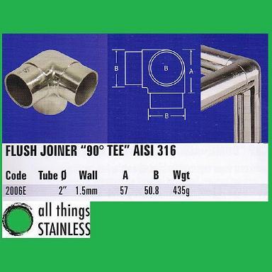 316: 2 Inch Flush Joiner 90 Deg Tee