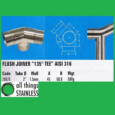 316: 2 Inch Flush Joiner 135 Degree Tee