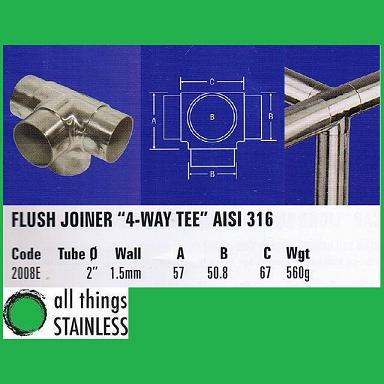 316: 2 Inch Flush Joiner 4-Way Tee