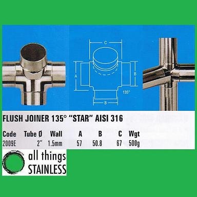 316: 2 Inch Flush Joiner 135 Degree Star