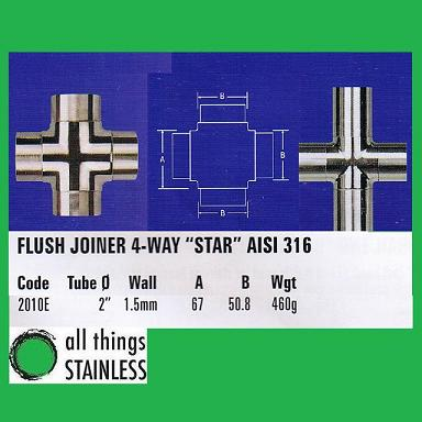 316: 2 Inch Flush Joiner 4-Way Star