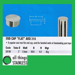 2 Inch Flat End cap for stainless steel handrail