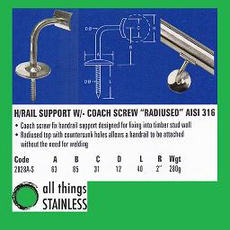 316: Handrail Support Radius with Coach Screw - 2028A-S