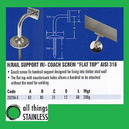 316: Handrail Support Flat Top with Coach Screw - 2029A-S