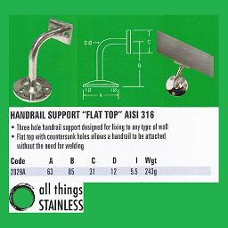 316: Handrail Support Flat Top - 2029A