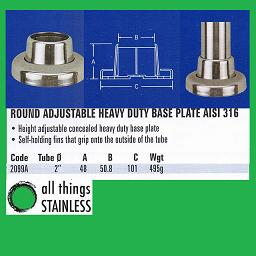 2 Inch Round Adjustable Heavy Duty Base Plate