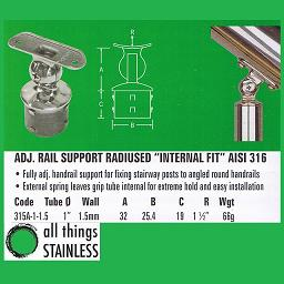 1 Inch Adjustable Rail Support 1.5 Inch Radius Internal Fit