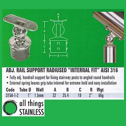 1 Inch Adjustable Rail Support 2 Inch Radius Internal Fit