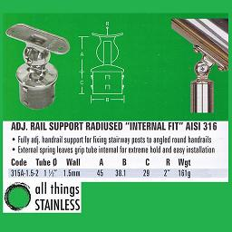 1.5 Inch Adjustable Rail Support 2 Inch Radius Internal Fit