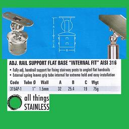 1 Inch Adjustable Rail Support Flat Base External Fit