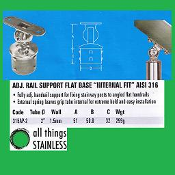 2 Inch Adjustable Rail Support Flat Base External Fit