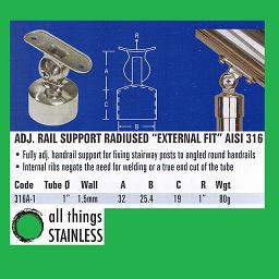 1 Inch Adjustable Rail Support Radiused External Fit