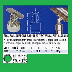 2 Inch Adjustable Rail Support Radiused External Fit