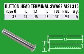3.2mm Button Head Terminal Swage - 316 Stainless Steel