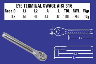 3.2mm Eye Terminal Swage - 316 Stainless Steel