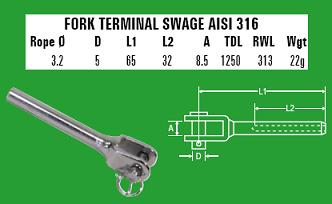 3.2mm Fork Terminal Swage - 316 Stainless Steel