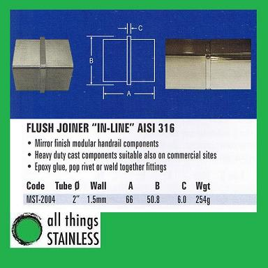 316: 2 Flush Joiner In-Line Square Mirror