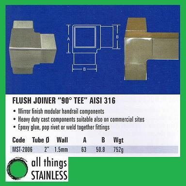 316: 2 Flush Joiner 90 Deg TEE Square Mirror