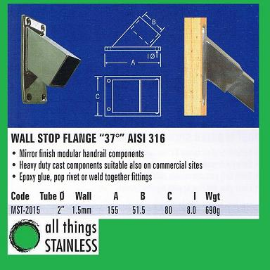 316: 2 37 Deg Wall Stop Flange Square Mirror