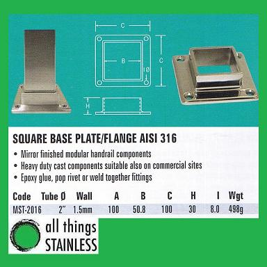 316: 2 Square Base Plate/Flange Square Mirror