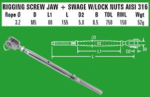 3.2mm Jaw/Swage Rigging Screw - 316 Stainless Steel