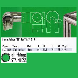 2 Inch Flush Joiner 90 Deg Tee Single Slotted Tube