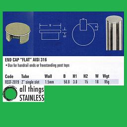 2 End Cap Flat Single Slotted Tube
