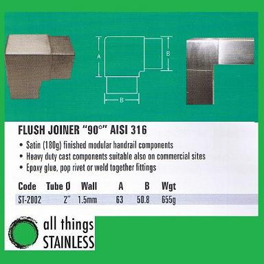 316: 2 Flush Joiner 90 Deg Square Satin