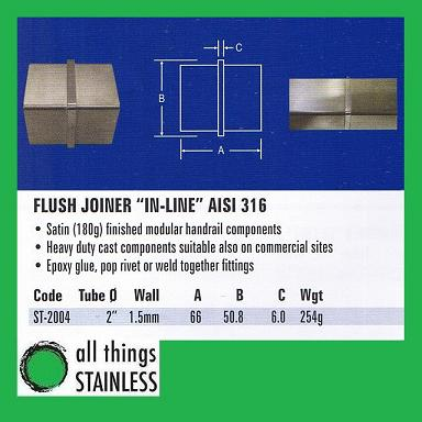 316: 2 Flush Joiner In-Line Square Satin