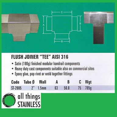 316: 2 Flush Joiner TEE Square Satin