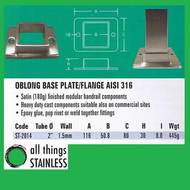 316: 2 Base Plate Flange Square Satin