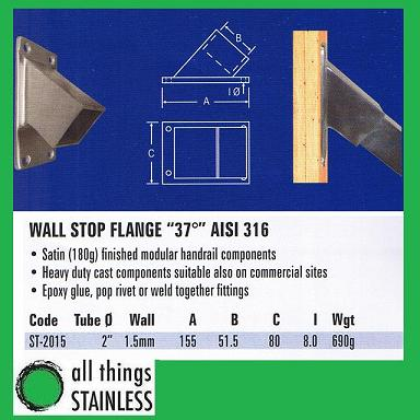 316: 2 37 Deg Wall Stop Flange Square Satin