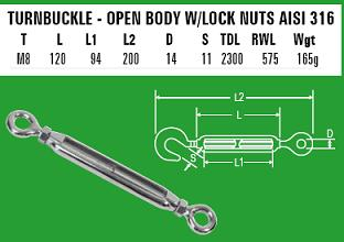 M8 Eye to Eye Turnbuckle - 316 Stainless Steel