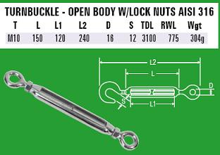 M10 Eye/Eye Turnbuckle - 316 Stainless Steel