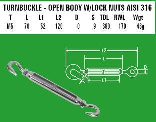 M5 Hook/Hook Turnbuckle - 316 Stainless Steel