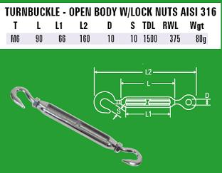M6 Hook to Hook Turnbuckle - 316 Stainless Steel