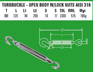 M8 Hook to Hook Turnbuckle - 316 Stainless Steel