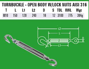 M10 Hook to Hook Turnbuckle - 316 Stainless Steel