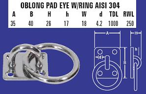 6mm Oblong Pad Eye W/Ring
